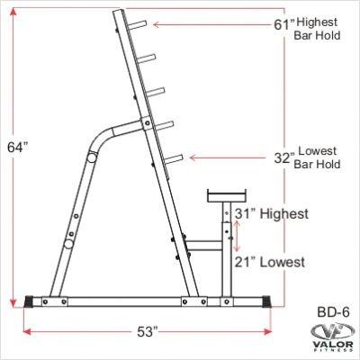 Valor Athletics Bd 6 Safety Squat Bench Combo Rack Top