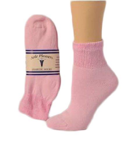Comfortable Womens Short Diabetic Socks Pink 3 Pack Size 9