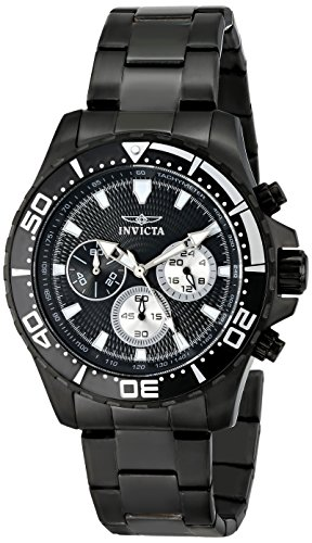 invicta men 39 s 12919 pro diver chronograph black textured dial black ion plated stainless steel. Black Bedroom Furniture Sets. Home Design Ideas
