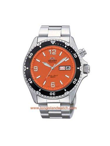 Orient men 39 s cem65001m orange mako stainless steel - Orange dive watch ...